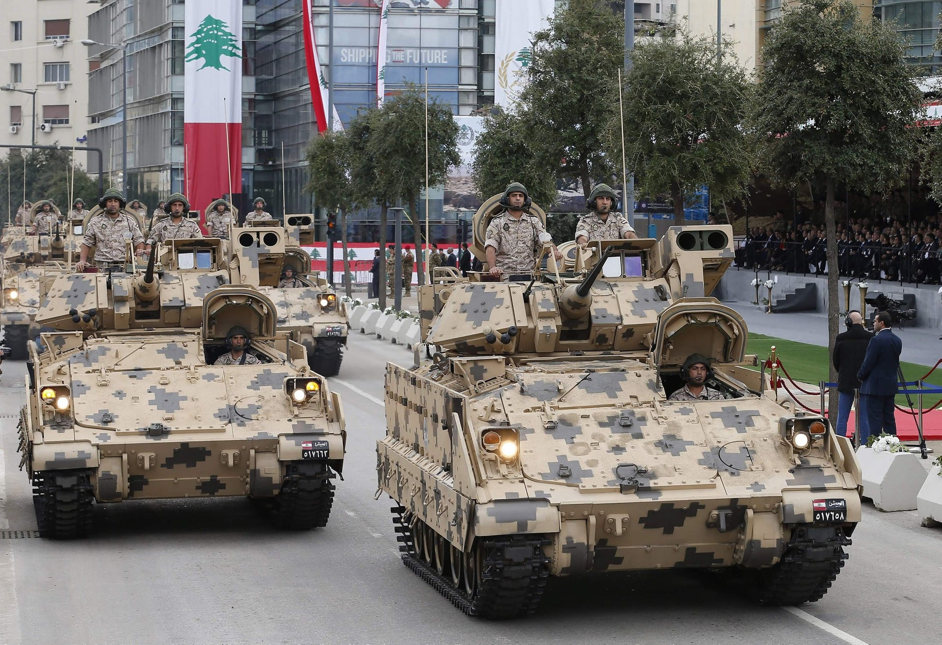 Lebanese soldiers take part in a military parade for Independence Day celebrations marking 74 years since the end of France's mandate in Lebanon, on November 22, 2017 in Beirut.