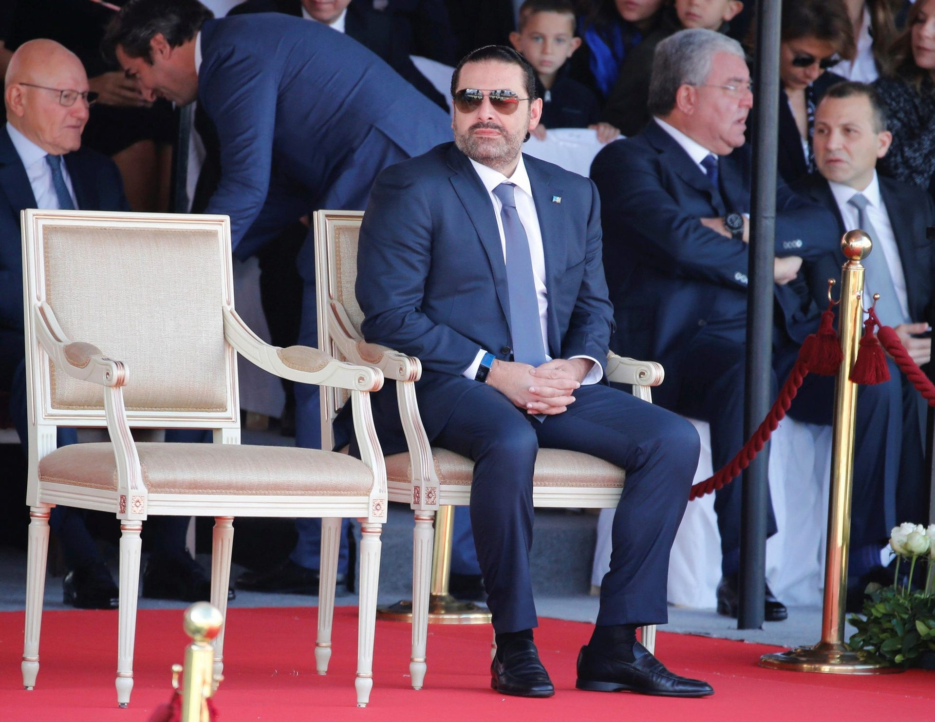 Saad al-Hariri, who announced his resignation as Lebanon's prime minister from Saudi Arabia attends a military parade to celebrate the 74th anniversary of Lebanon's independence in downtown Beirut, Lebanon November 22, 2017.