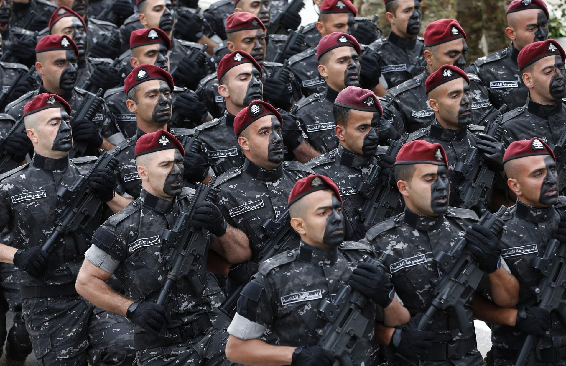 Members of the Lebanese security forces take part in a military parade for Independence Day celebrations marking 74 years since the end of France's mandate in Lebanon, on November 22, 2017 in Beirut.