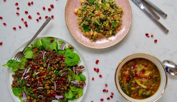 Spinach salad with spicy beef and candied pistachios, Papaya tabbouleh and Eggplant pomegranate soup for Tu Bishvat dinner.
