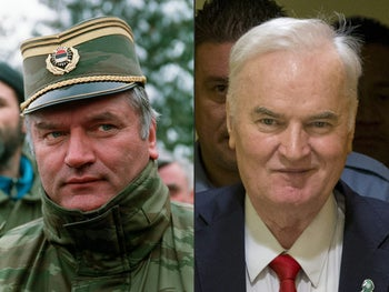 Ratko Mladic in 1994 and in 2017.