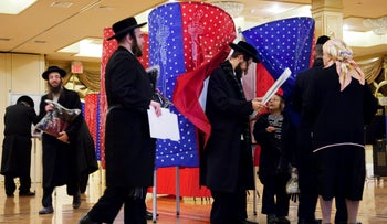 Residents lining up to vote on Election Day in Kiryas Joel, November 2, 2010.