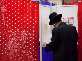 A voter casting a ballot in Kiryas Joel, New York, November 2, 2010.