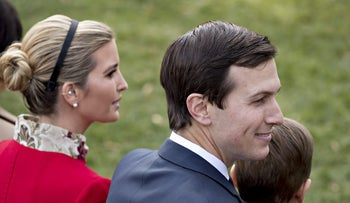 Jared Kushner and Ivanka Trump attend a ceremony in the White House Rose Garden to pardon the National Thanksgiving Turkey, Drumstick, in Washington, D.C. on November 21, 2017.