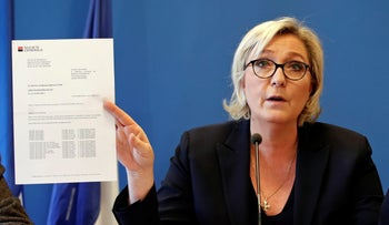 French far-right Front National party president Marine Le Pen speaks during a press conference on November 22, 2017, in Paris.