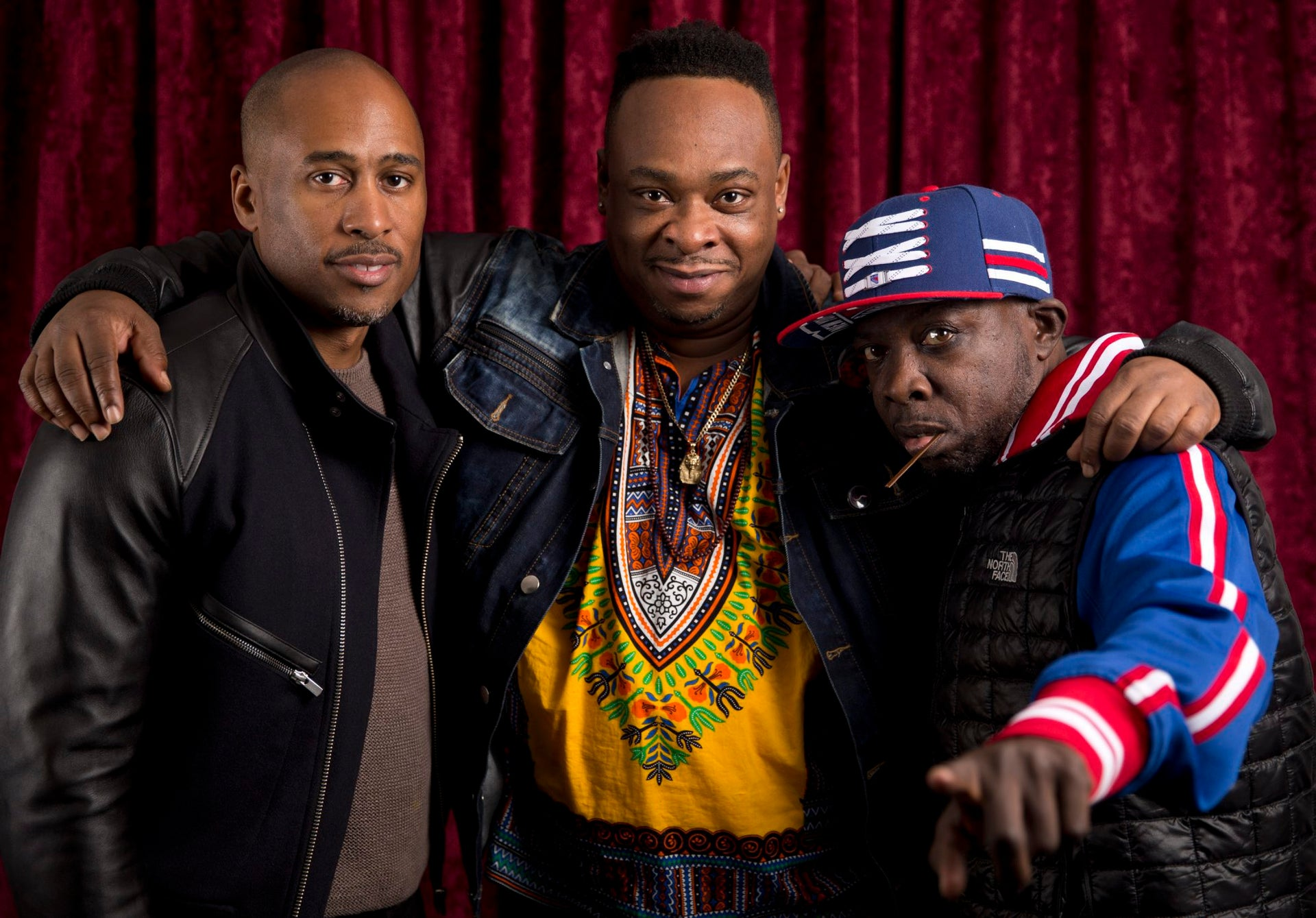 Ali Shaheed Muhammad, left, Jarobi White, and Malik Isaac Taylor aka Phife Dawg of A Tribe Called Quest pose for a portrait at Sirius XM studios in New York.