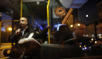 A bus following a shooting attack in Petah Tikva, Israel, February 9, 2017.