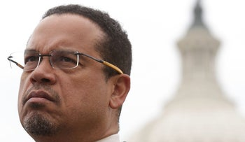 U.S. Rep. Keith Ellison stands in front of the Capitol in Washington D.C., February 1, 2017.