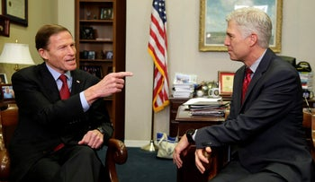 U.S. Supreme Court nominee Judge Neil Gorsuch meets with Senator Richard Blumenthal (D-CO) on Capitol Hill in Washington, U.S., February 8, 2017.