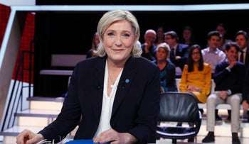 "French presidential election candidate for the far-right Front National (FN) party Marine Le Pen poses prior to take part in the show ""L'Emission politique"", in the studios of French television channel France 2 in Saint-Cloud, west of Paris, on January 9, 2017."