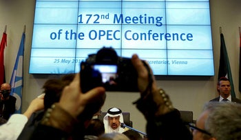 OPEC President Saudi Arabia's Energy Minister Khalid al-Falih talks to journalists before the beginning of a meeting of the Organization of the Petroleum Exporting Countries (OPEC) in Vienna, Austria, on May 25, 2017