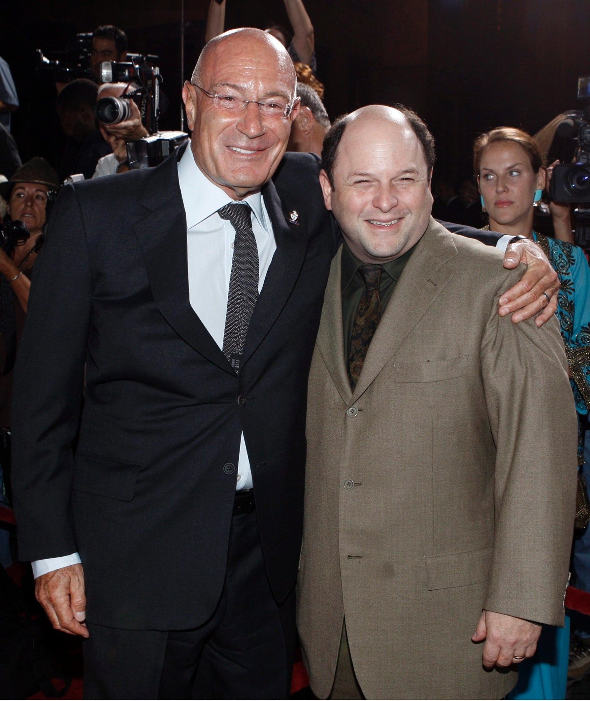 Arnon Milchan and Jason Alexander pose together at the 'From Vision to Reality' event celebrating the 60th Anniversary of the state of Israel in Los Angeles on Thursday, Sept. 18, 2008.