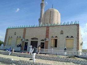 View of the Rawda mosque in  in Bir al-Abed, west of El-Arish, in Egypt's Sinai, after a gun and bombing attack, November 24, 2017.