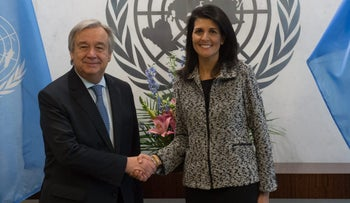 United Nations Secretary-General Antonio Guterres shaking hands with new U.S. Ambassador to the UN Nikki Haley in New York, January 27, 2017.