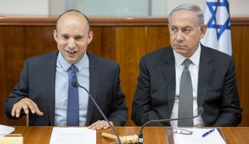 Prime Minister Netanyahu and Minister Bennett during a cabinet meeting, August, 2016.