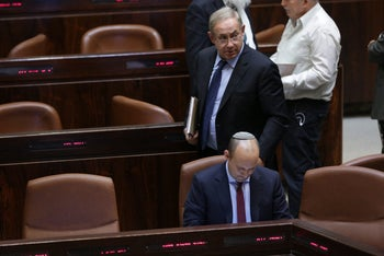 Netanyahu and Bennett at the Knesset, December 2015.
