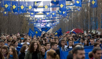 Thousands gather to celebrate Kosovo's 9th anniversary of independence in the capital Pristina, Kosovo, February 17, 2017.
