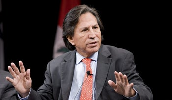 Alejandro Toledo, former president of Peru, speaks at the 2010 Biennial of the Americas Former Heads of State Summit in Denver, Colorado, U.S., on Monday, July 12, 2010.