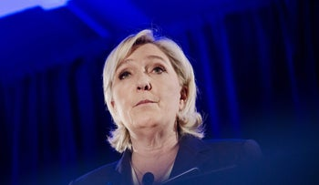 Marine Le Pen, leader of the French National Front, during a presidential campaign news conference in Paris, France, January 26, 2017.