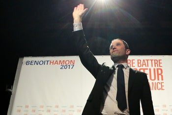 Benoit Hamon, leader of the Socialist Party, at a rally in Gueret, France, February 9, 2017.
