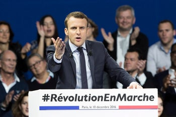 Emmanuel Macron, an independent and former French Economy Minister, at a rally in Paris, France, December 10, 2016.