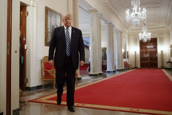 Trump arrives in the State Dining Room of the White House, Thursday, Feb. 9, 2017. Will host Netanyahu on Wednesday