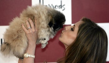 Actress Sarah Michelle Gellar poses for the photographers holding a puppy as she officially opens the Harrods department store's summer sale in central London, Monday July 2, 2007.