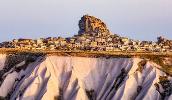 Orthahisar in Turkey. The entire city rests on a high plateau, which made this Persian city virtually unassailable in ancient times.