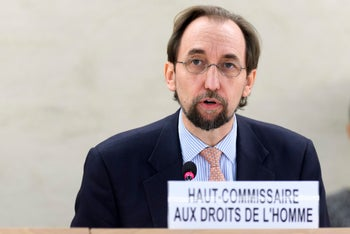 UN High Commissioner for Human Rights Zeid Ra'ad al-Hussein speaks at the United Nations Human Rights Council at the UN headquarters in Geneva, Switzerland, Wednesday, Dec. 14, 2016.