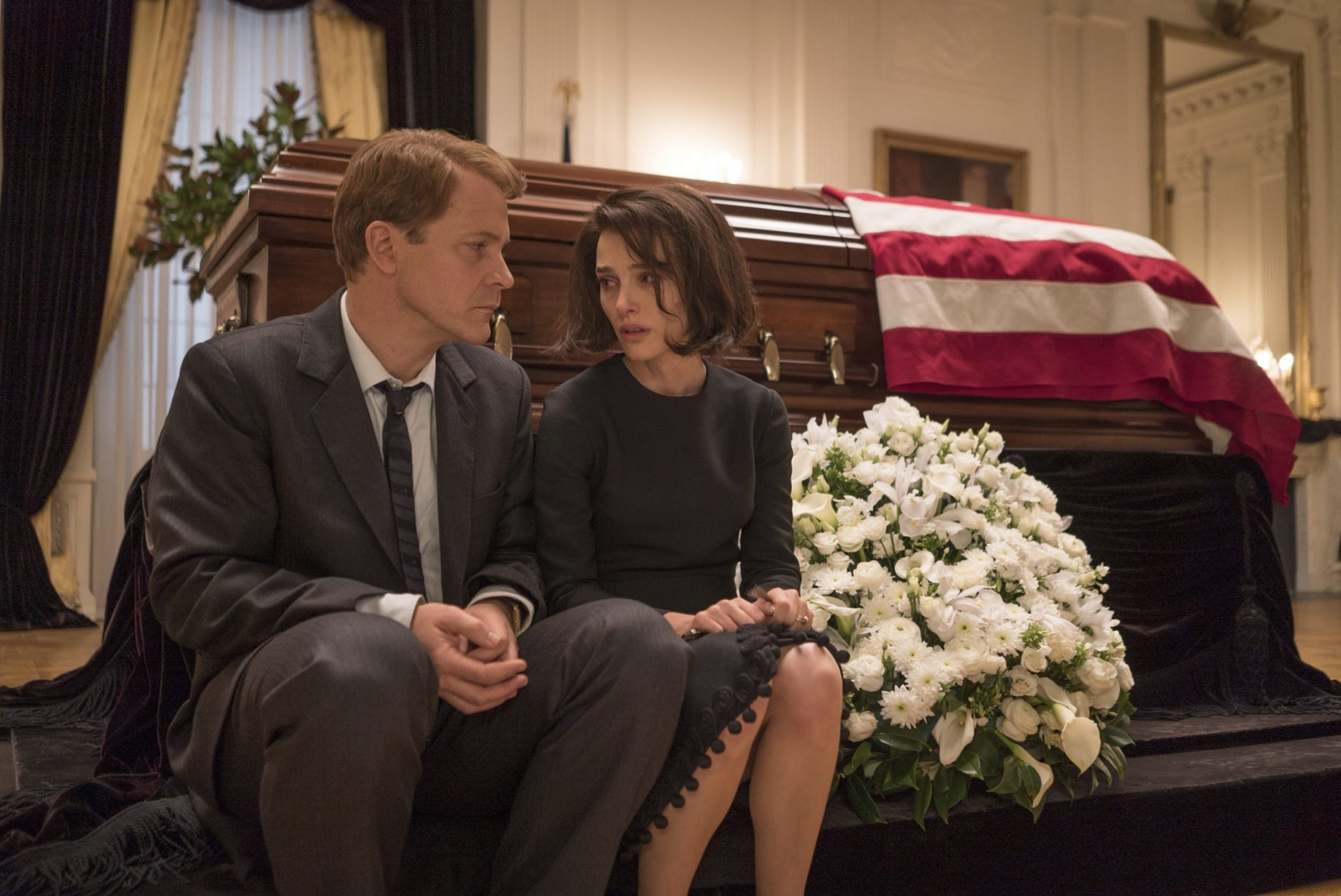 "Peter Sarsgaard as Bobby Kennedy and Natalie Portman as Jacqueline Kennedy in ""Jackie."""