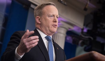 White House spokesman Sean Spicer at the daily press briefing at the White House in Washington, DC, on February 9, 2017.