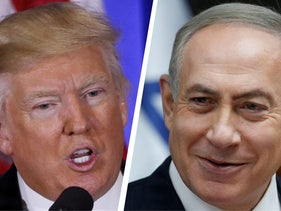 U.S. President-elect Donald Trump speaks at a news conference in New York City, January 11, 2017 and Israeli Prime Minister Benjamin Netanyahu at a cabinet meeting in Jerusalem, January 22, 2017.