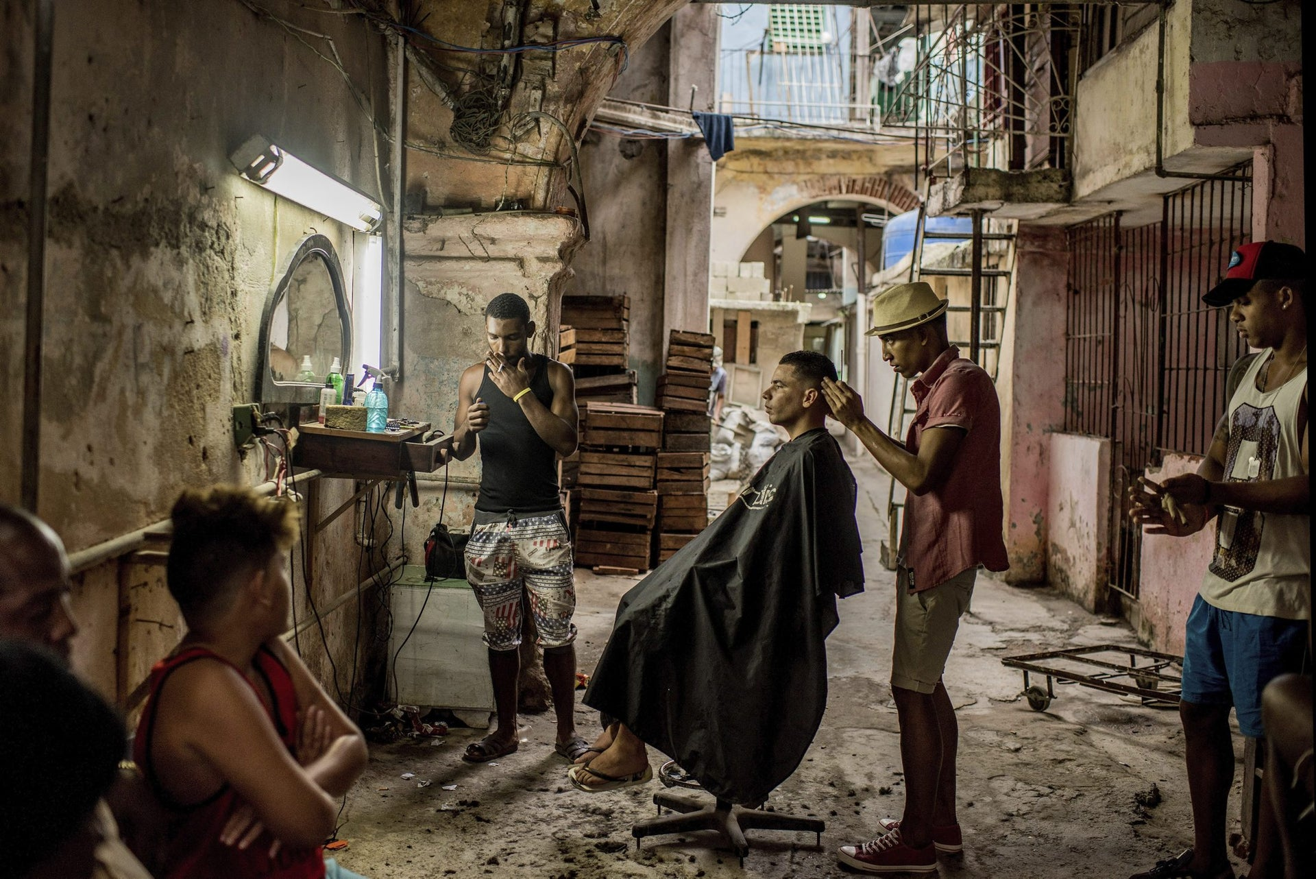 Daily Life, first prize stories - A weathered barber shop in Old Havana, Cuba.