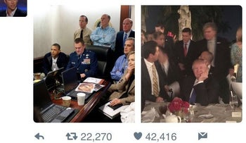 Image from former Obama speech writer Jon Favreau showing Obama's White House situation room (L) and Trump's Mar-a-Lago resort (R).