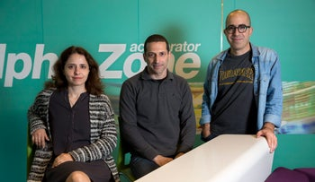 From the left: Articoolo founders Nir Haloani, Lilia Demidov and Doron Tal.