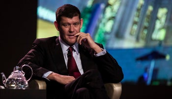 Billionaire James Packer, co-chairman of Melco Crown Entertainment Ltd., attends a news conference at Melco's Studio City casino resort in Macau, China, on Tuesday, Oct. 27, 2015.