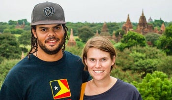 Katie Parkinson and Andrew Hart. The couple spent four days at the airport facility for people denied entry.