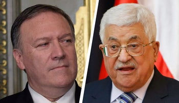 Mike Pompeo and Mahmoud Abbas.