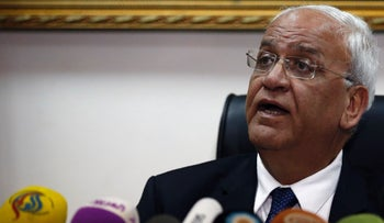 Palestinian chief negotiator and Secretary General of the Palestine Liberation Organisation (PLO), Saeb Erekat, speaks during a press conference in the West Bank city of Jericho on February 15, 2017.