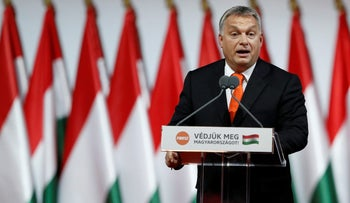 Hungarian Prime Minister Viktor Orban attends the ruling Fidesz party congress in Budapest, Hungary, November 12, 2017.