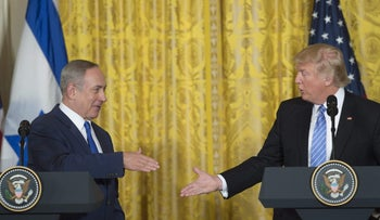 U.S. President Donald Trump and Israeli Prime Minister Benjamin Netanyahu shake hands following a joint press conference in the East Room of the White House in Washington, D.C., February 15, 2017.