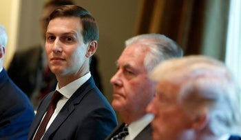 White House senior adviser Jared Kushner listens as President Donald Trump speaks during a meeting with Spanish Prime Minister Mariano Rajoy in the Cabinet Room of the White House, Tuesday, Sept. 26, 2017,