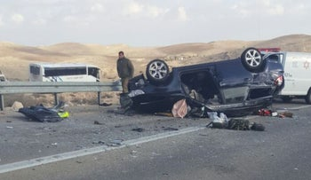 Scene of deadly crash in Negev. Feb. 15, 2016