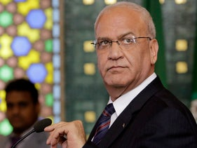 File photo: Palestinian negotiator, Saeb Erekat, speaks during a press conference