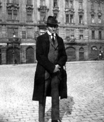 Franz Kafka in Prague's Old Town Square, 1920-21.