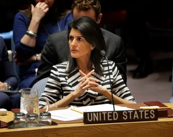 U.S. Ambassador to the U.S. Nikki Haley attends a meeting of the Security Council.