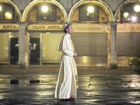 Actor Jude Law on the set of 'The Young Pope.'