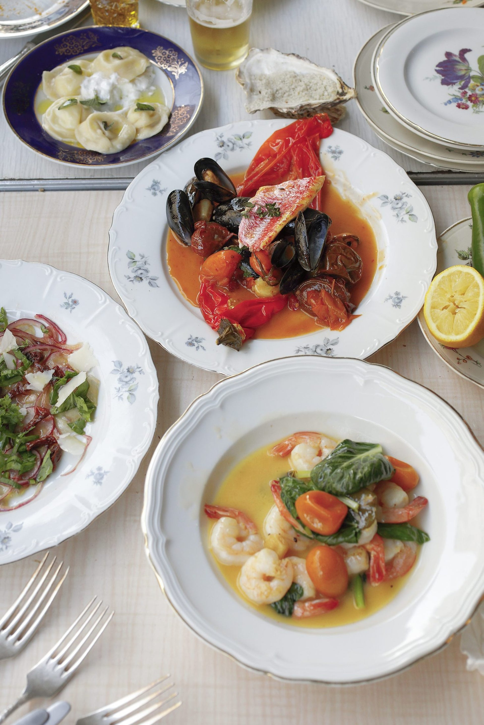 Shrimp, mussels and other seafood at the Hamara Talpiot tavern.