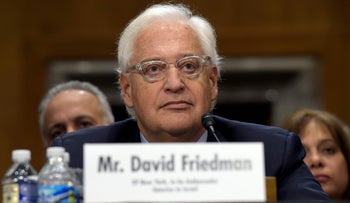 David Friedman, nominated to be U.S. Ambassador to Israel, testifies on Capitol Hill in Washington, Thursday, Feb. 16, 2017, at his confirmation hearing before the Senate Foreign Relations Committee.