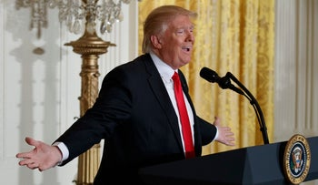 U.S. President Donald Trump speaks during a news conference at the White House in Washington, February 16, 2017.